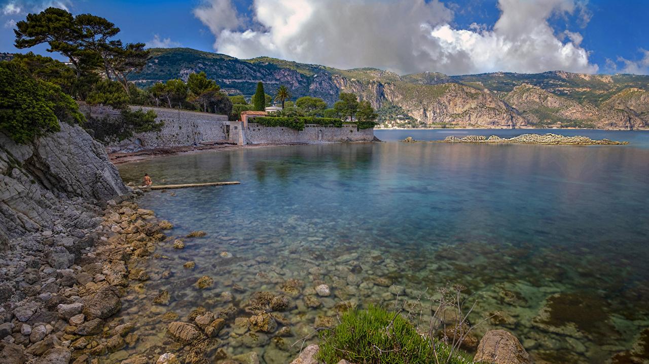 Картинки Франция Saint Jean Cap Ferrat Природа берег Камень залива Залив Камни заливы Побережье