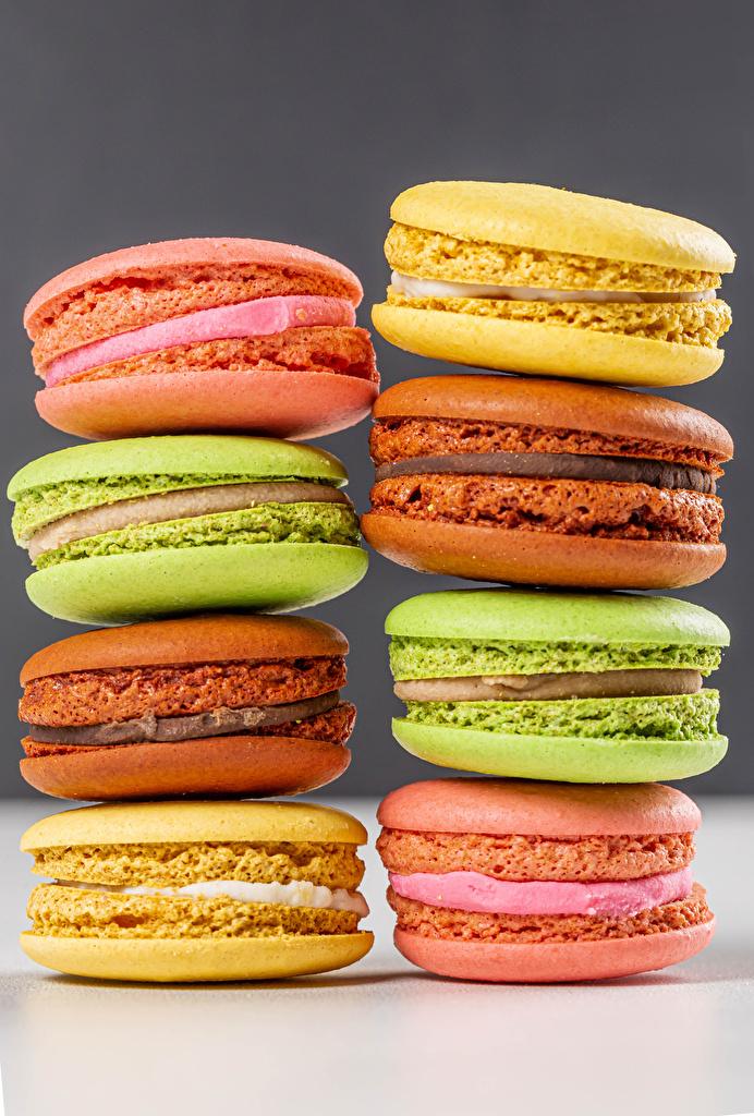 Фотография Макарон Разноцветные Продукты питания Крупным планом  для мобильного телефона Еда Пища вблизи