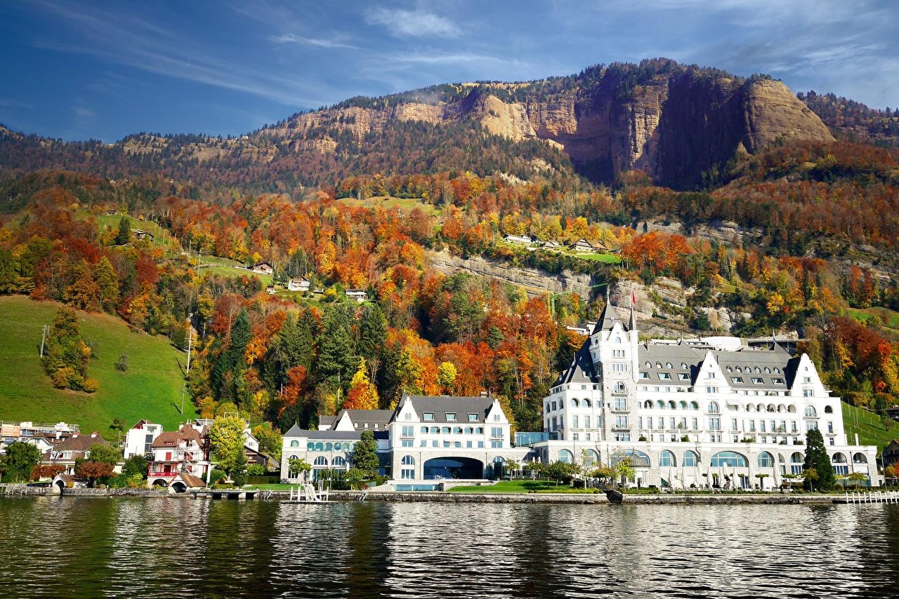 Фото Швейцария Park Hotel Vitznau, Lake Lucerne Горы Осень Отель Озеро Города гора отеля осенние Гостиница гостиницы город