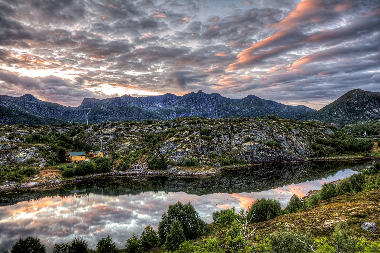 Фотография Норвегия Kabelvaag Nordland HDR гора Природа Небо речка кустов HDRI Горы река Реки Кусты