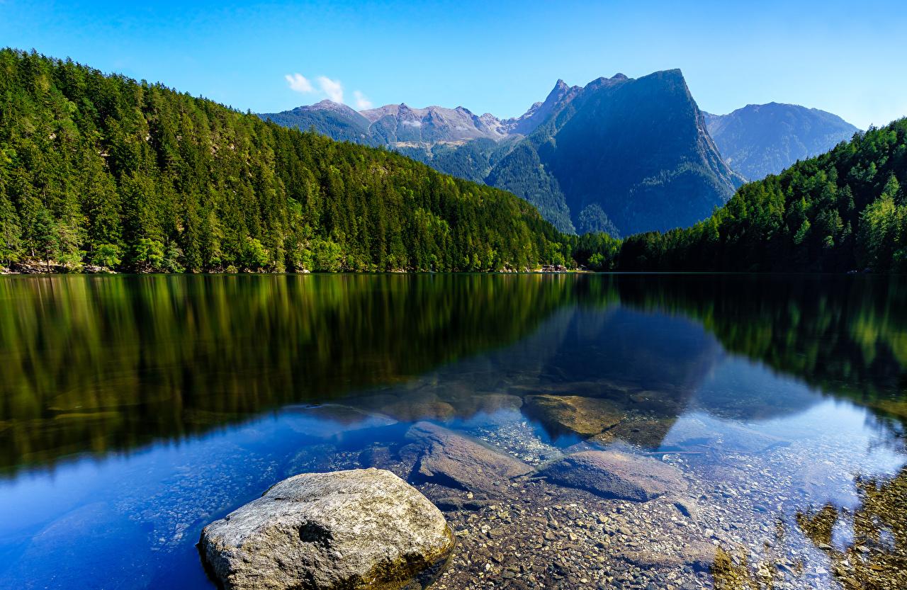 Картинка Австрия Oetztal Tyrol Горы Природа Леса река Камень гора лес Реки речка Камни