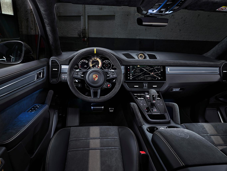 Картинки Porsche Салоны Автомобильный руль Cayenne Turbo GT, (Worldwide), 2021 Автомобили Порше Рулевое колесо авто машины машина автомобиль