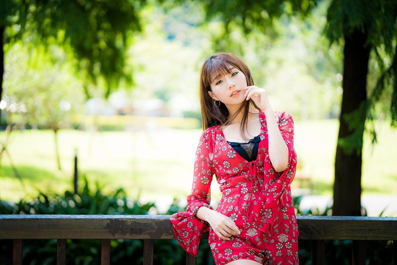Обои для рабочего стола шатенки боке молодые женщины азиатка рука смотрит Шатенка Размытый фон девушка Девушки молодая женщина Азиаты азиатки Руки Взгляд смотрят