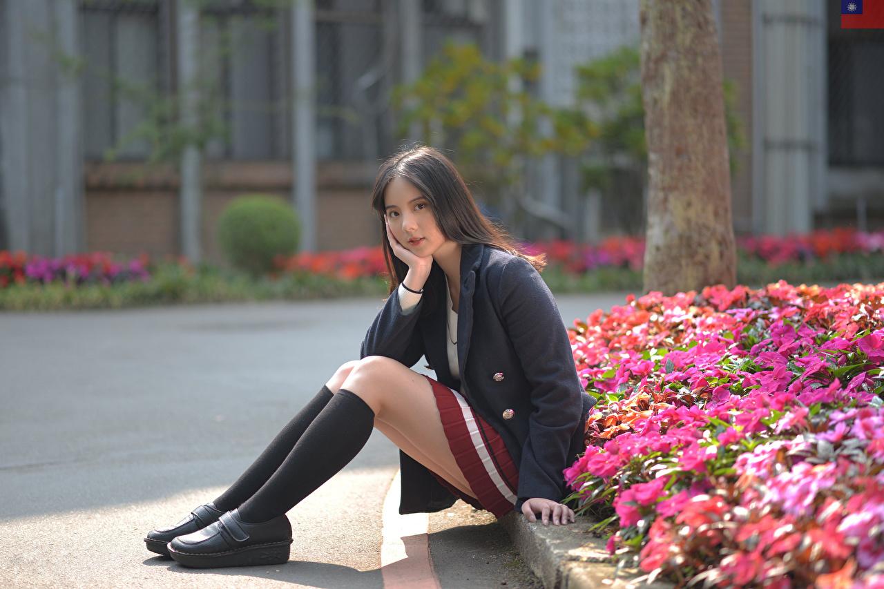 Картинка Гольфы девушка Ноги Азиаты Сидит Пиджак смотрит гольфах Девушки молодая женщина молодые женщины ног азиатки азиатка сидя сидящие Взгляд смотрят