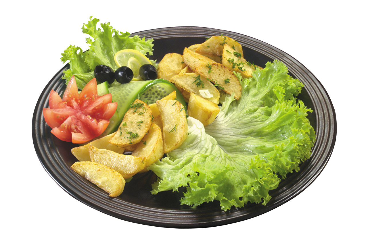 Фотографии Оливки Картофель Еда Овощи тарелке Белый фон картошка Пища Тарелка Продукты питания белом фоне белым фоном