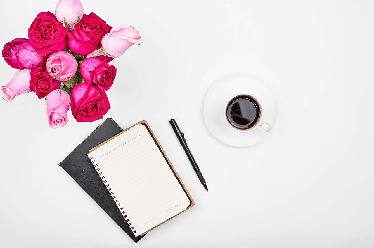 Фото Шариковая ручка Блокнот роза Кофе Цветы чашке Шаблон поздравительной открытки белым фоном Розы цветок Чашка Белый фон белом фоне