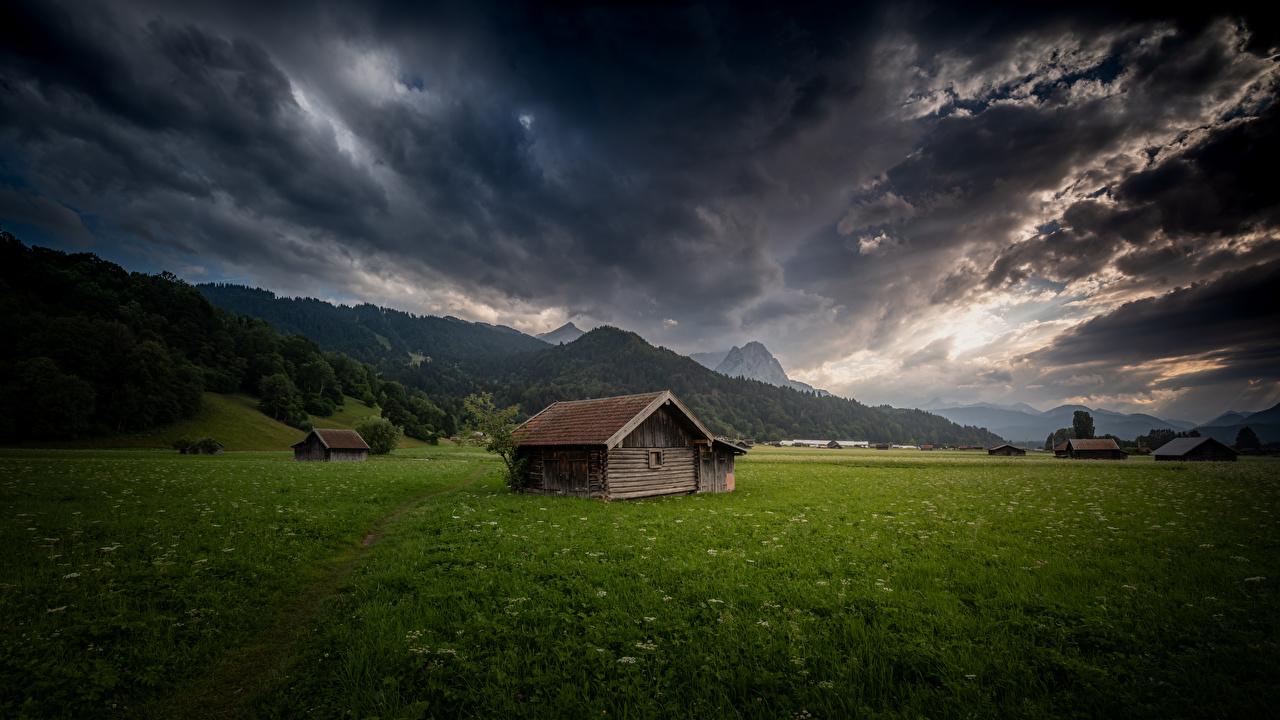 Фото Бавария Альпы Германия Garmisch-Partenkirchen гора Природа облачно альп Горы Облака облако