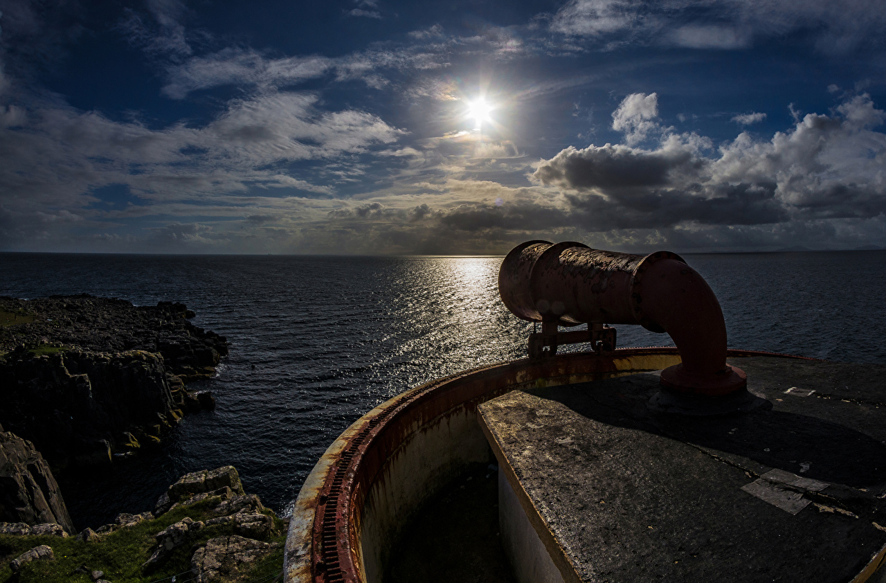 Фото Шотландия Waterstein Море Утес Маяки Природа Вечер Облака Скала