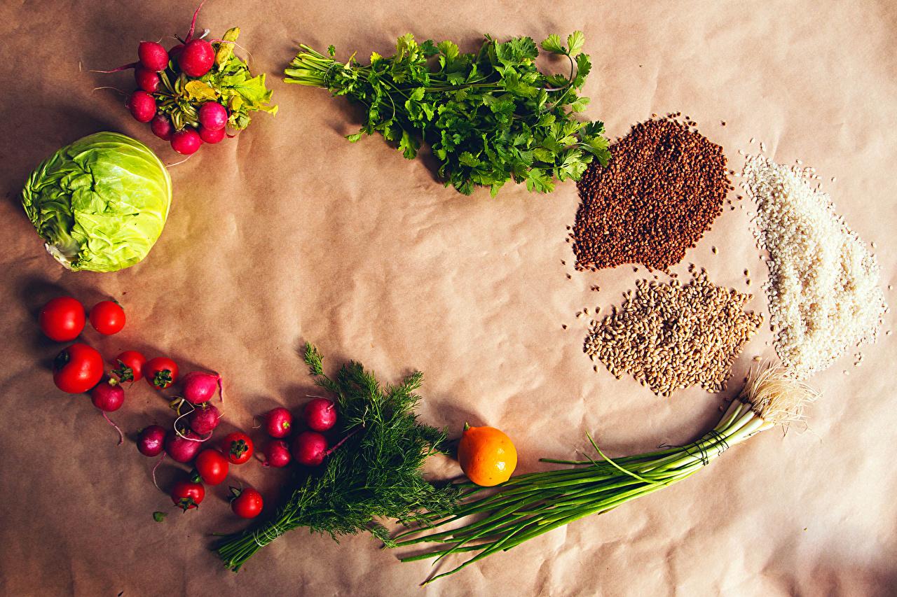 Картинки Рис Редис Томаты Гречка Капуста Укроп Зерна Еда Овощи Помидоры зерно Пища Продукты питания