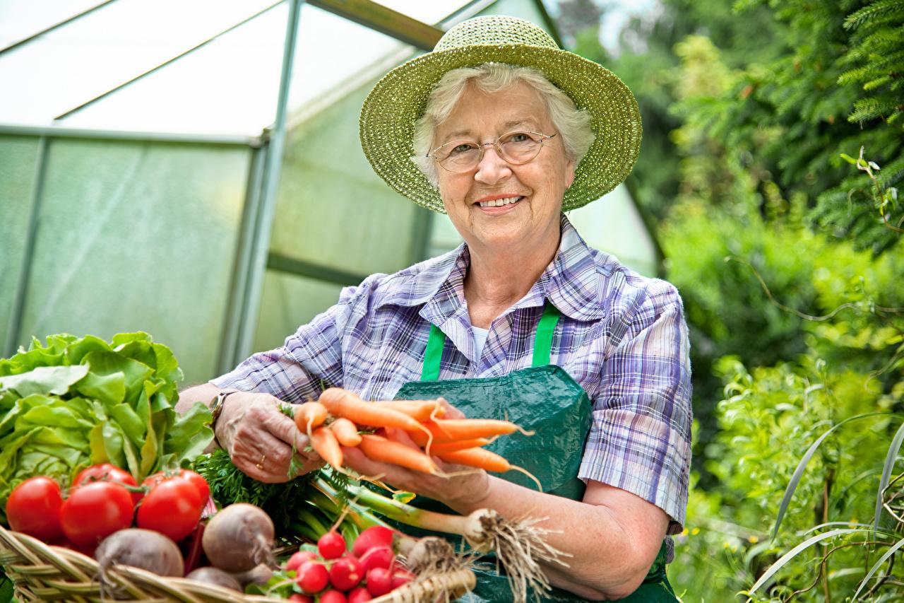 Фото пожилая женщина улыбается Шляпа морковка Очки Овощи Старуха старая женщина Улыбка шляпе шляпы Морковь очков очках