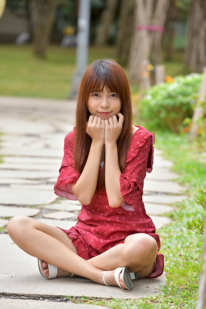 Картинка Шатенка Девушки Азиаты рука сидящие смотрят платья  для мобильного телефона шатенки девушка молодая женщина молодые женщины азиатки азиатка Руки сидя Сидит Взгляд смотрит Платье