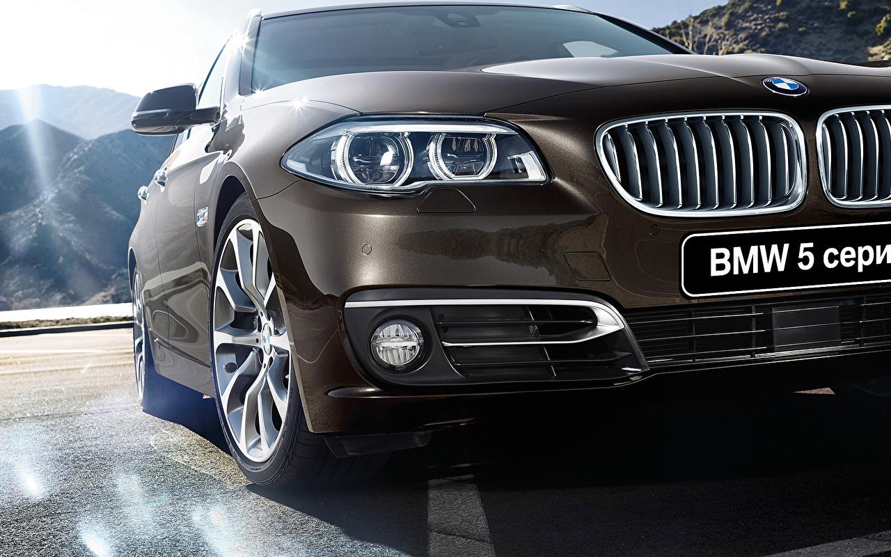 Обои для рабочего стола БМВ 2015 5 series Touring F11 фар Спереди Автомобили BMW Фары авто машины машина автомобиль