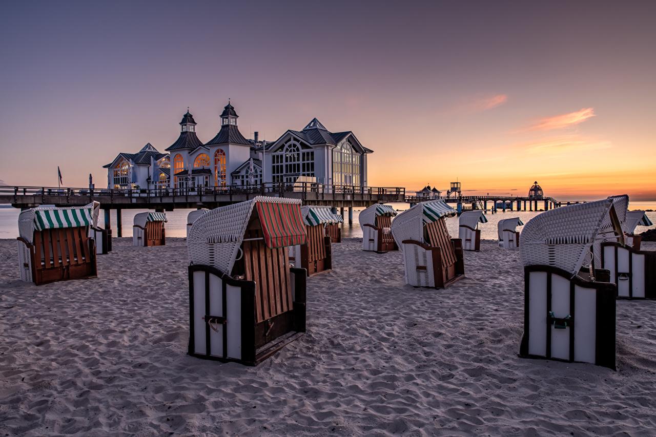 Обои для рабочего стола Германия Rügen Пляж Природа Утро Побережье пляжа пляже пляжи берег