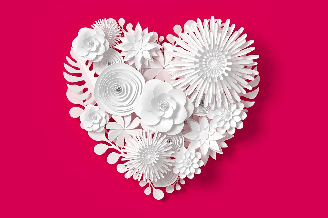 Фото сердечко 3D Графика Цветы красном фоне серце сердца Сердце 3д цветок Красный фон