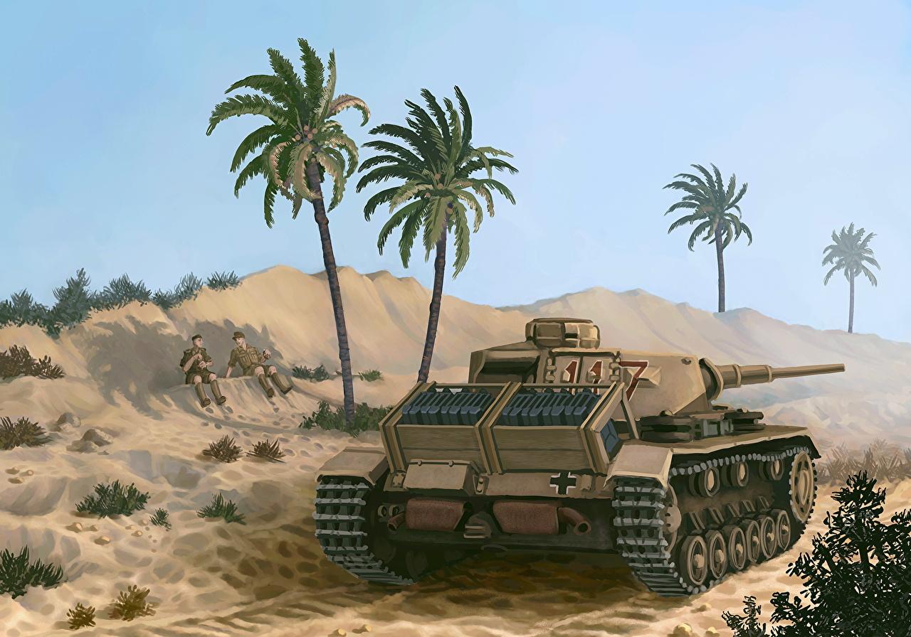 Картинки Танки Африка PzKpfw III Ausf. G of the Afrika Korps, 1941 пальма Рисованные Армия пальм Пальмы