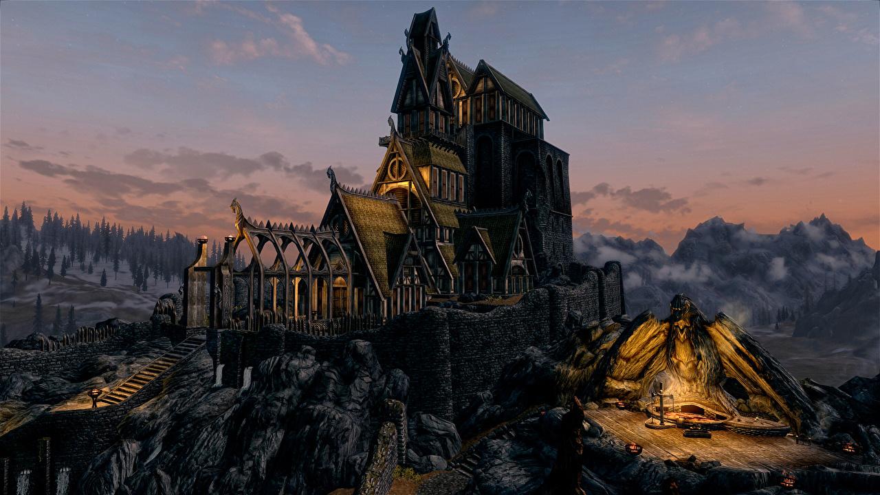 Картинка Скайрим 3д Горы Замки Небо Игры Фильмы Рисованные The Elder Scrolls V: Skyrim гора замок 3D Графика кино компьютерная игра