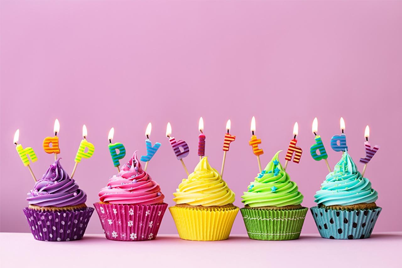 Фотография День рождения Капкейк кекс Пища Свечи Еда Продукты питания