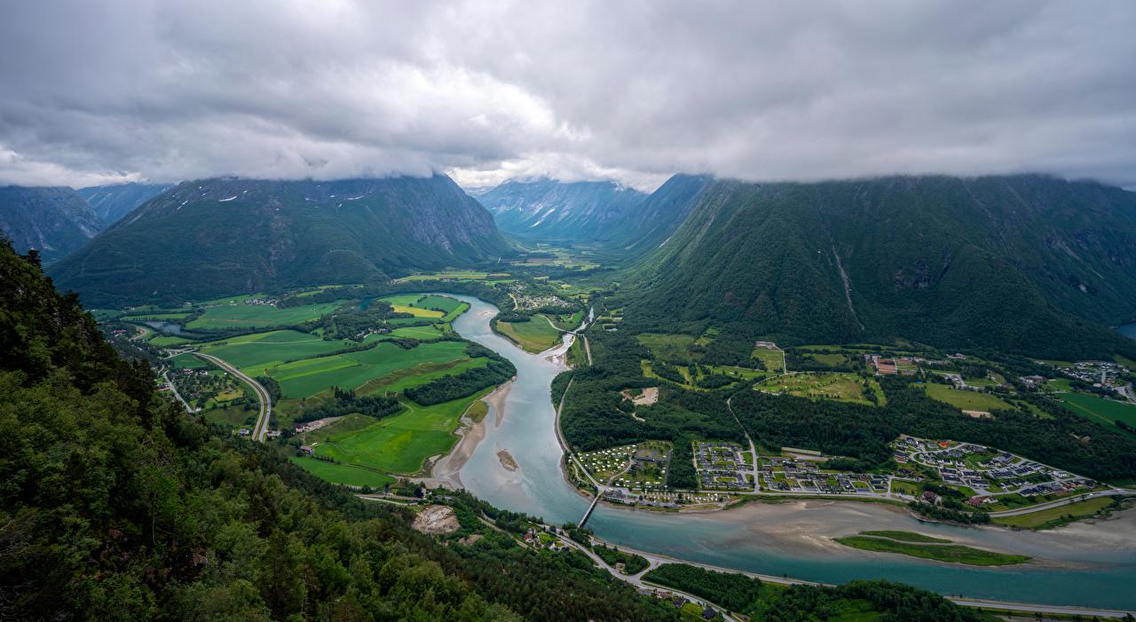 Фотографии Норвегия Trollveggen Горы Природа Дороги речка Сверху облако гора Реки река Облака облачно
