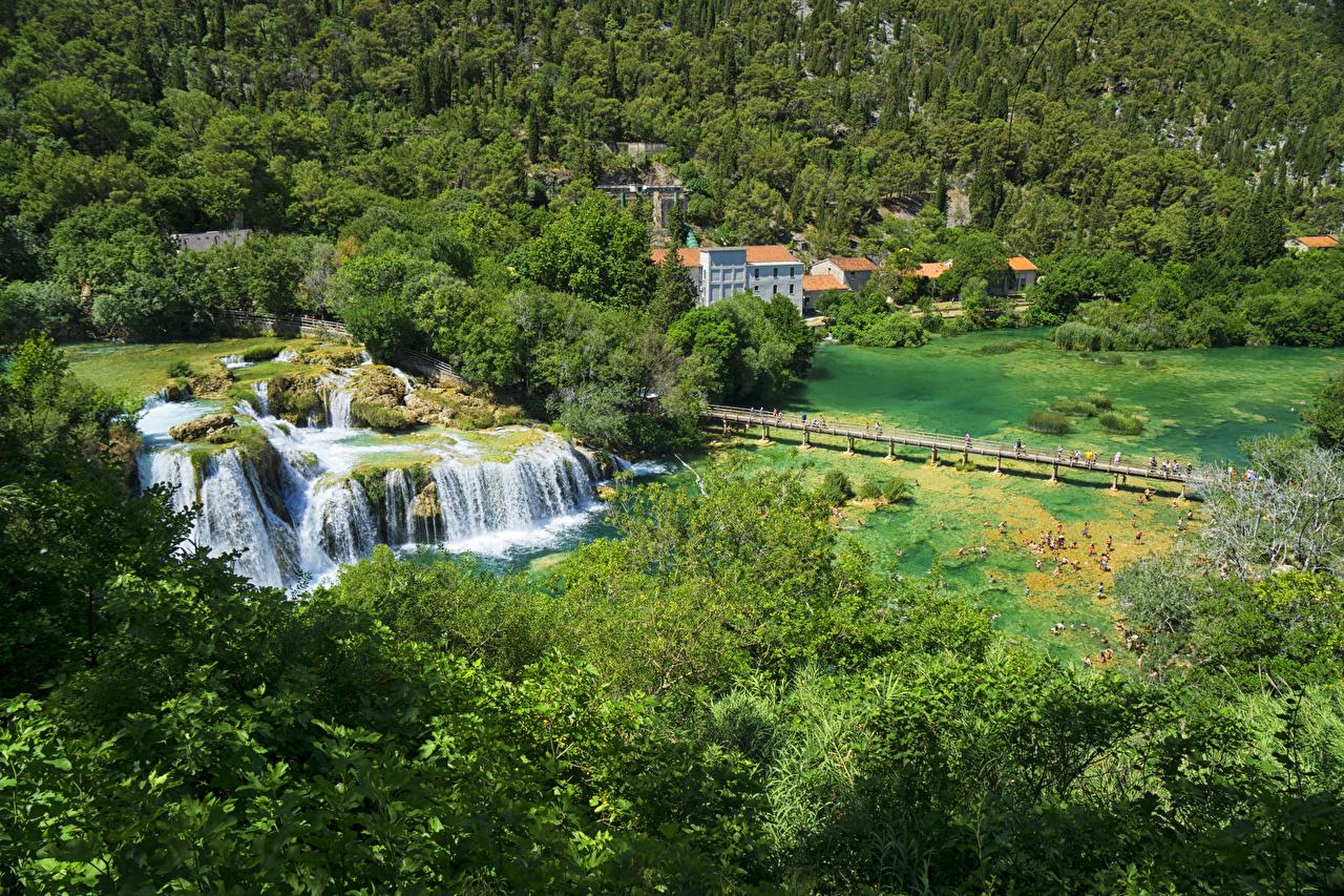 Фотография Хорватия Krka National Park мост Природа Водопады лес Озеро Парки Мосты Леса парк