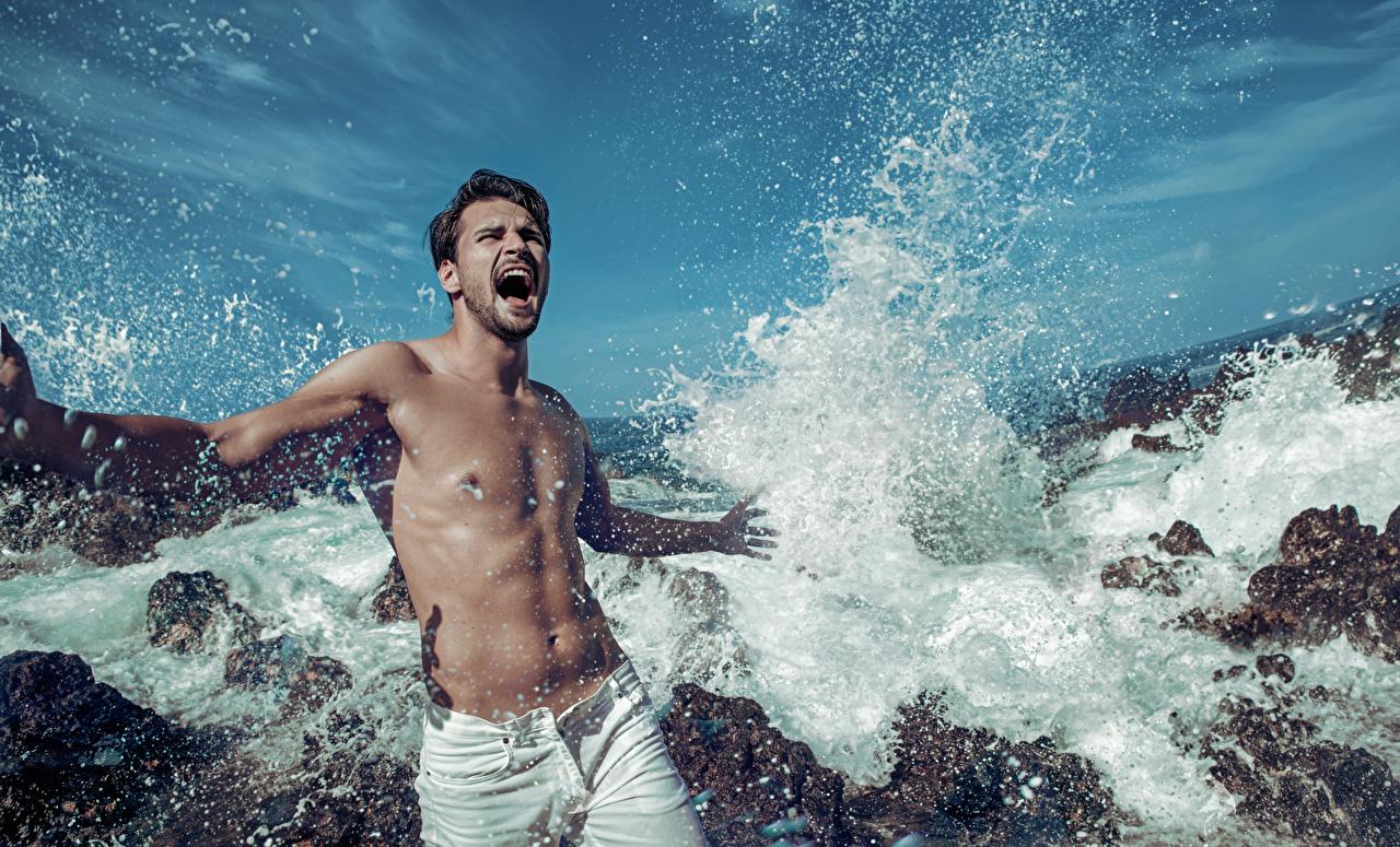 Картинка Мужчины кричат Волны Брызги мужчина Крик кричит с брызгами