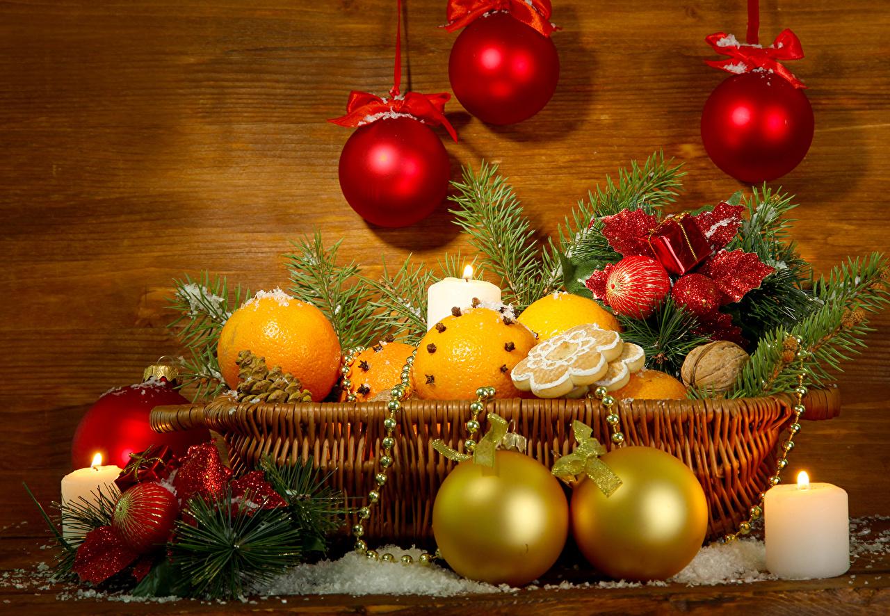 Фотография Новый год Апельсин корзины Шар бант Свечи Ветки Праздники Рождество Корзина Корзинка ветвь ветка Шарики Бантик бантики на ветке