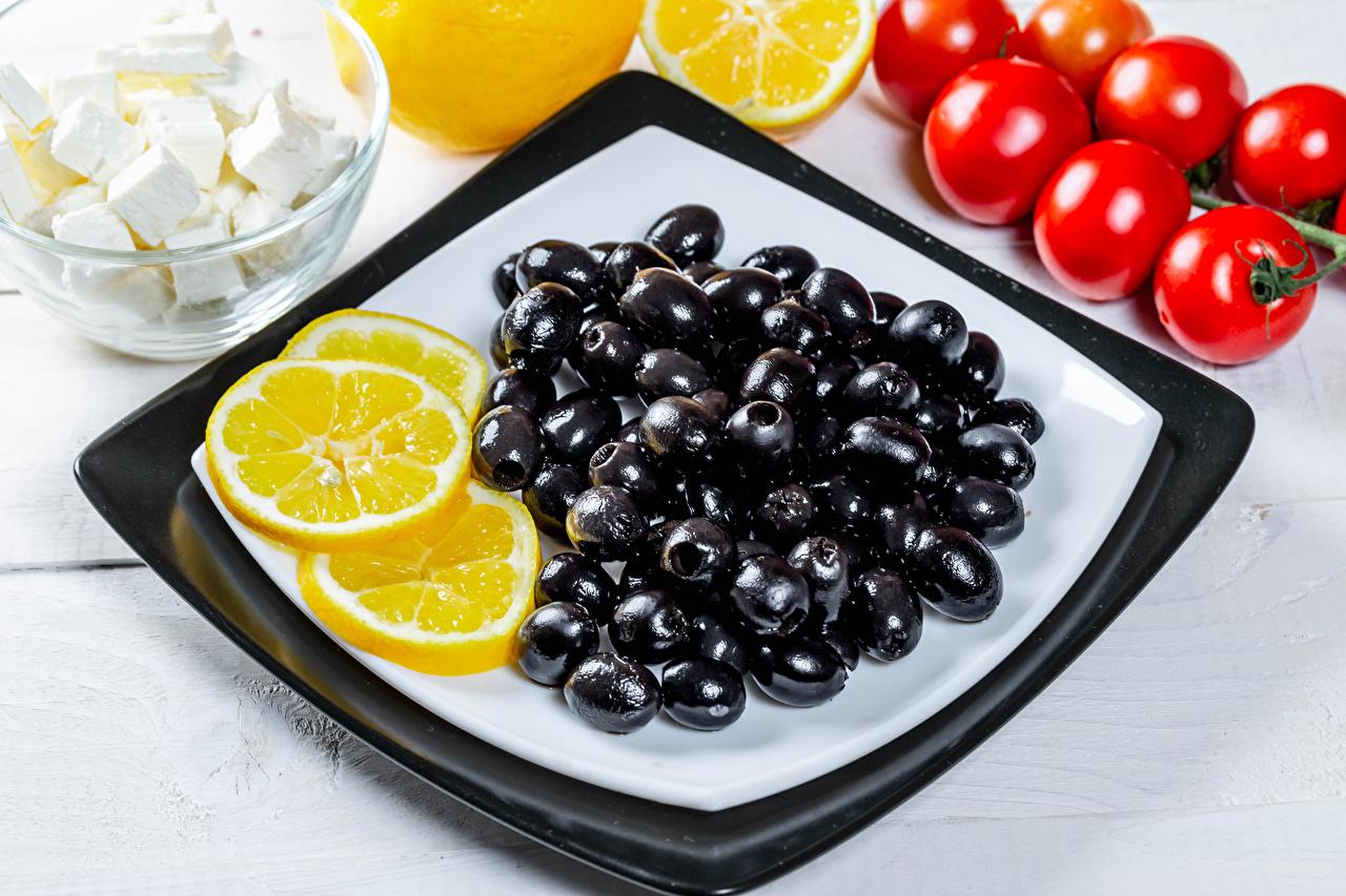 Фотография Оливки Томаты Лимоны Пища Помидоры Еда Продукты питания