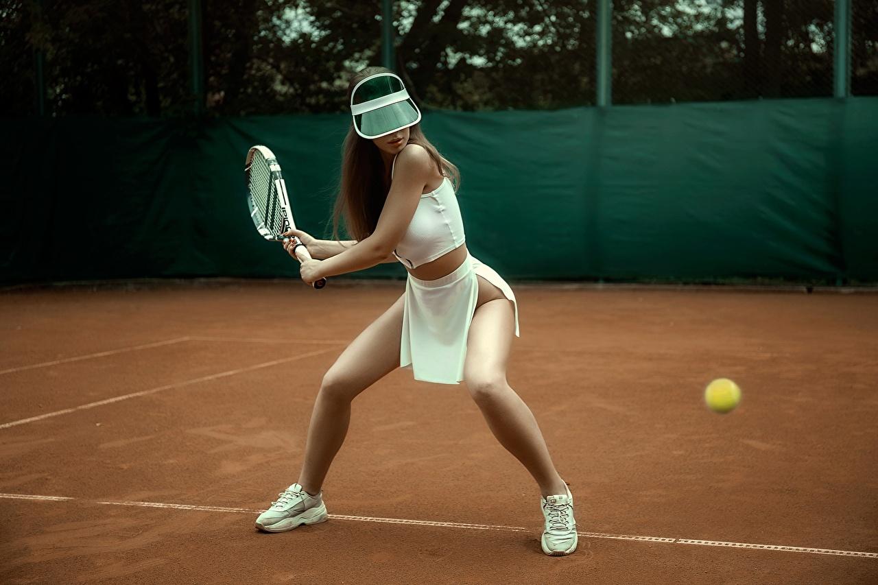 Обои для рабочего стола Kristina Fedorova, Vadim Aksyonov Красивые позирует спортивная молодые женщины Ноги Теннис Поза красивая красивый Спорт девушка Девушки спортивные спортивный молодая женщина ног