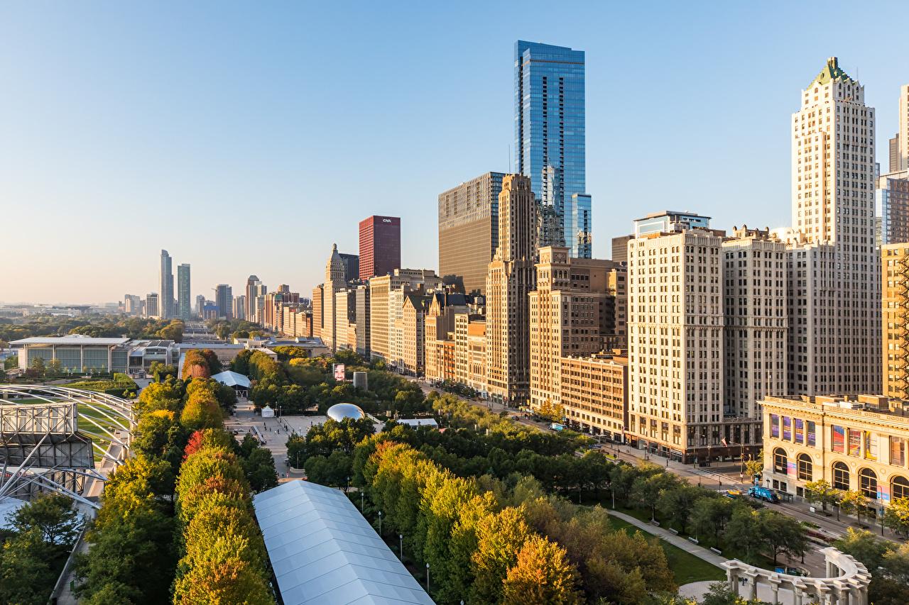 Картинки Чикаго город США Утро Небоскребы Здания Города штаты америка Дома город