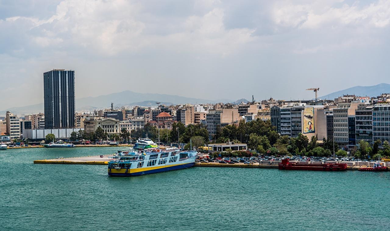 Картинка Греция Athens корабль Причалы Города Корабли Пирсы Пристань город