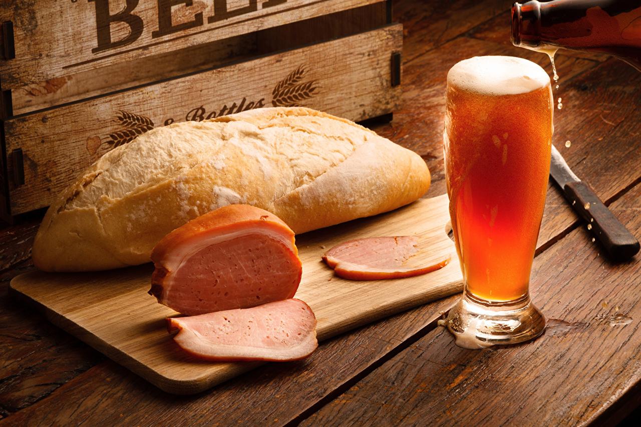 Картинки Пиво Хлеб Ветчина бокал Продукты питания напиток Еда Пища Бокалы Напитки