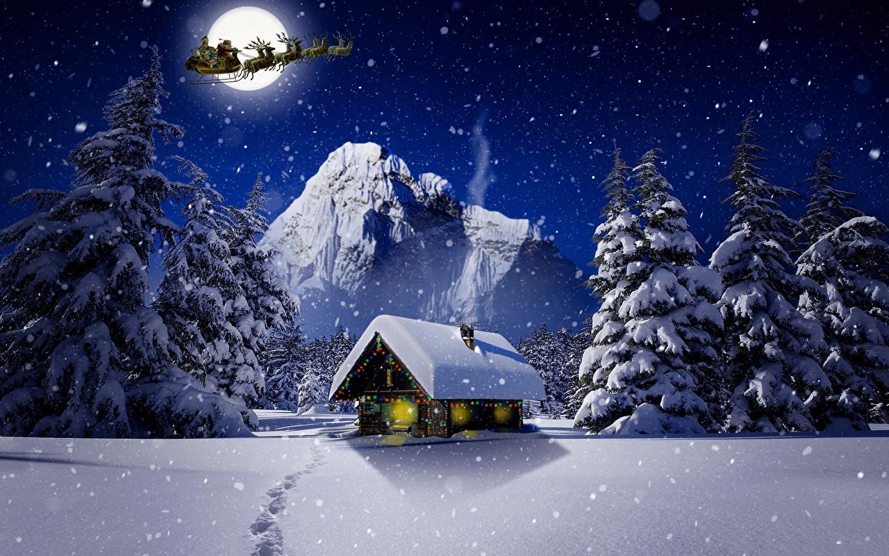 Обои для рабочего стола Олени Новый год Санки зимние Природа луны снегу ночью Здания Рождество Сани Зима Луна Снег луной снеге снега Ночь в ночи Ночные Дома