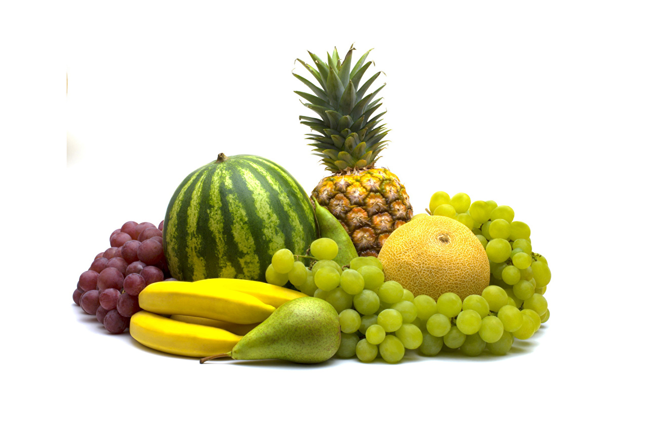 Обои Дыни Груши Бананы Арбузы Ананасы Виноград Еда Фрукты Белый фон Пища Продукты питания