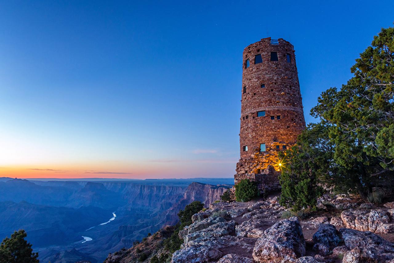 Фотография Гранд-Каньон парк США гора Маяки Природа Парки Рассветы и закаты штаты америка Горы маяк парк рассвет и закат