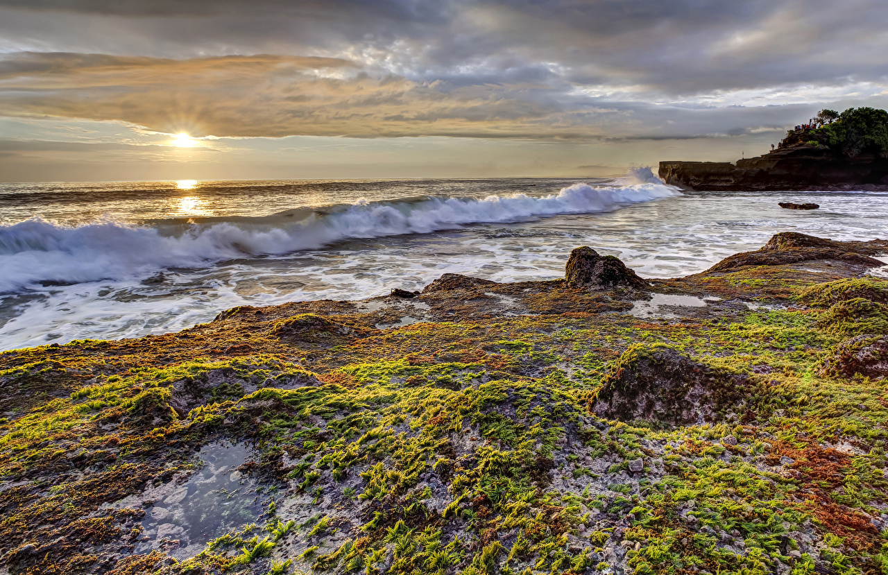 Фото Природа Волны Рассветы и закаты Побережье рассвет и закат берег
