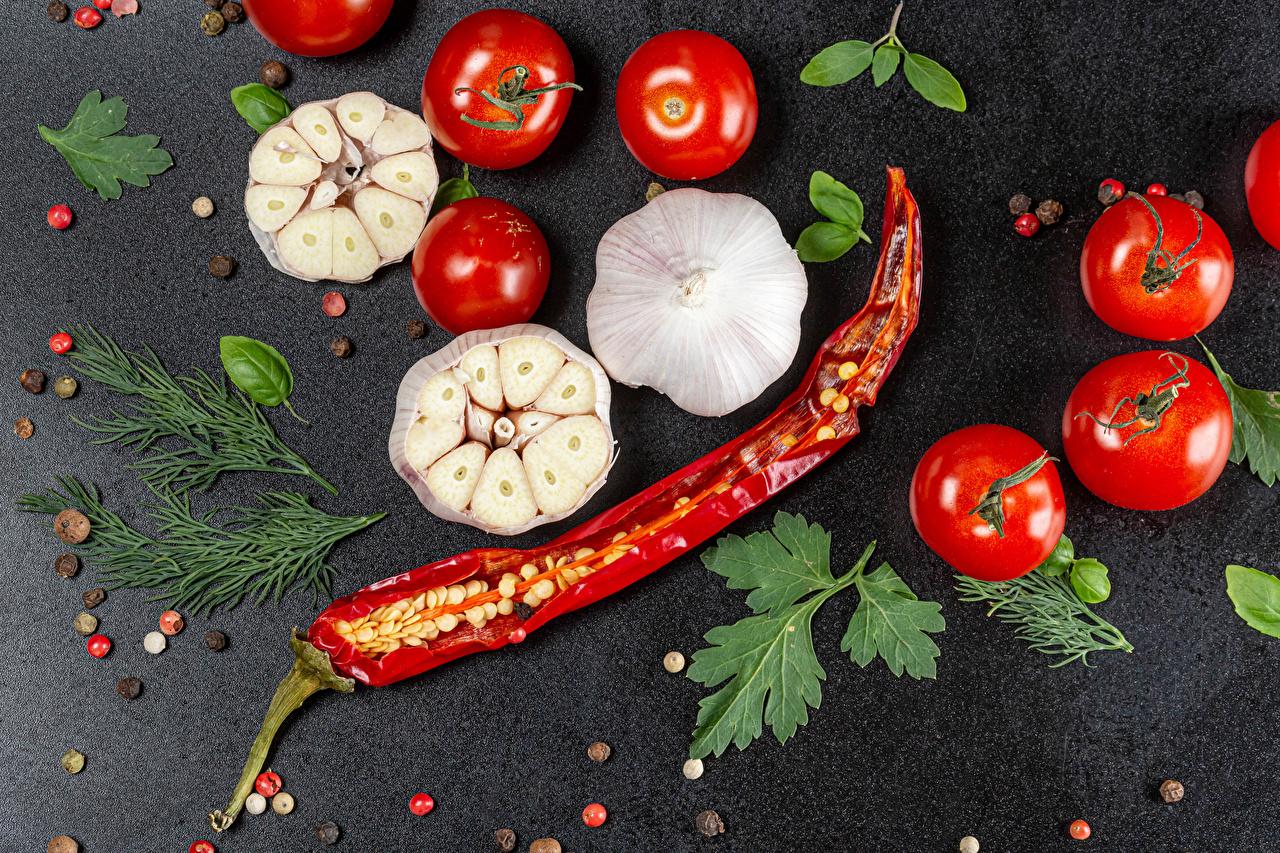 Фото Томаты Перец чёрный Острый перец чили Укроп Чеснок Пища Помидоры Еда Продукты питания
