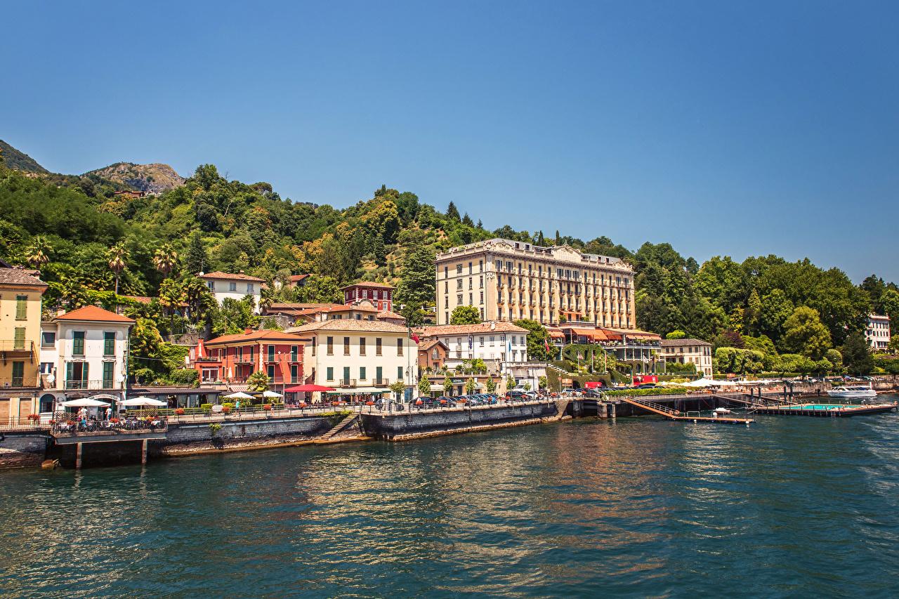 Фото Италия Bellagio Озеро Пристань Города Здания Пирсы Причалы Дома город