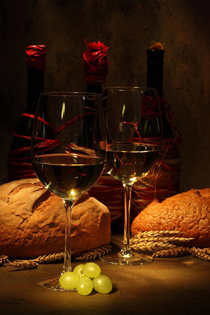 Фото Вино Хлеб колоски Виноград Еда бокал бутылки  для мобильного телефона Колос колосья колосок Пища Бокалы Бутылка Продукты питания