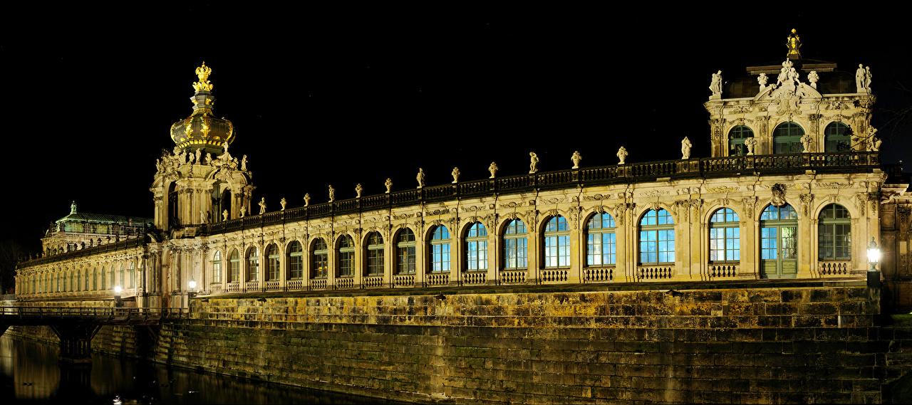 Картинка Дрезден дворца Германия Zwinger palace ночью город Дизайн Дворец Ночь в ночи Ночные Города дизайна
