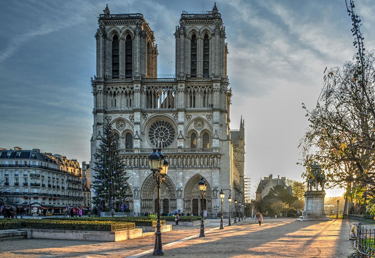 Фотографии Париж Собор Франция Notre Dame Утро Улица Уличные фонари город париже улиц улице Города