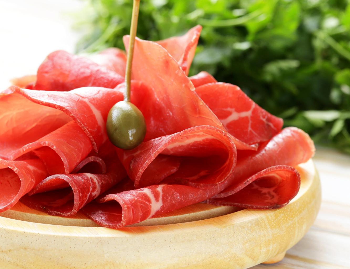 Фотографии Оливки Ветчина Еда Мясные продукты Пища Продукты питания