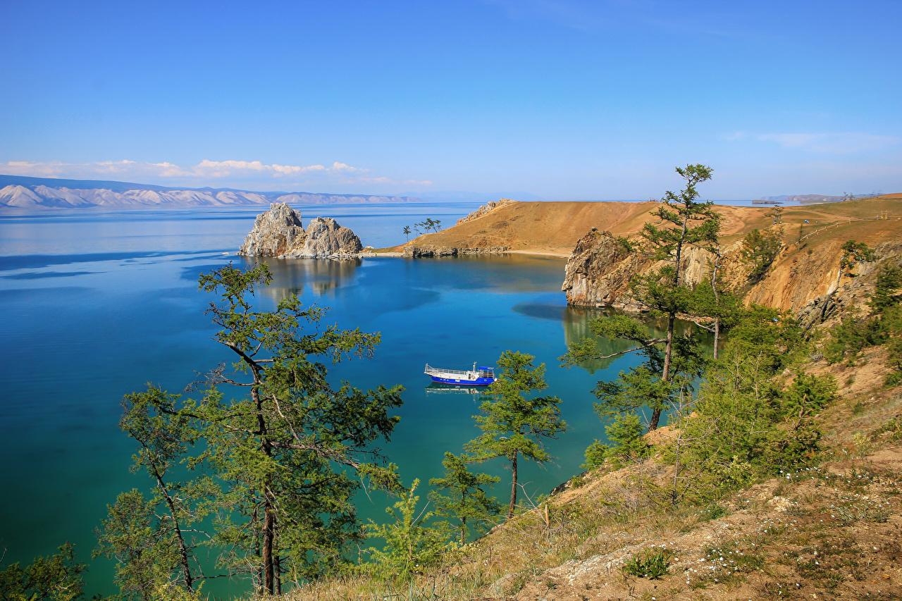 Фотография Россия Baikal Природа Озеро берег Деревья Побережье