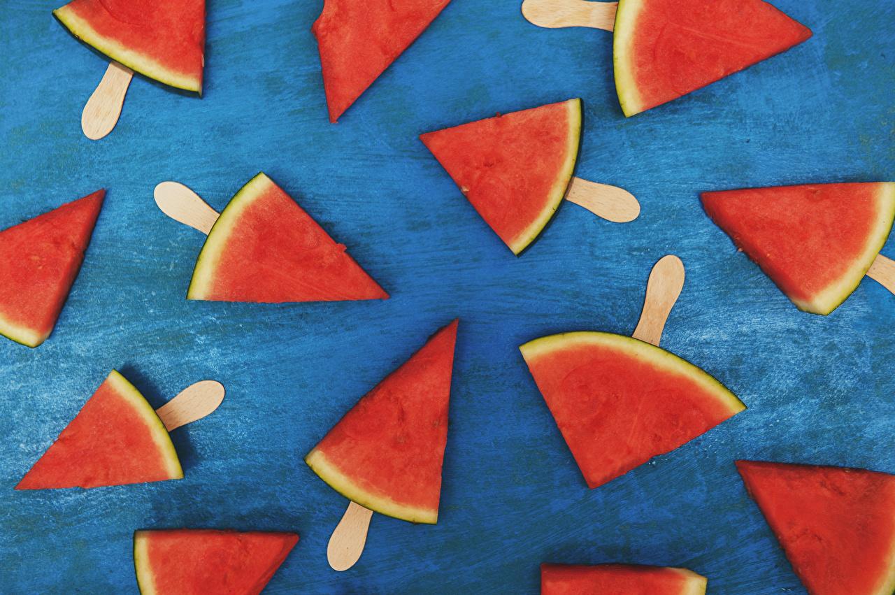 Фотография часть Арбузы Еда Кусок кусочки кусочек Пища Продукты питания
