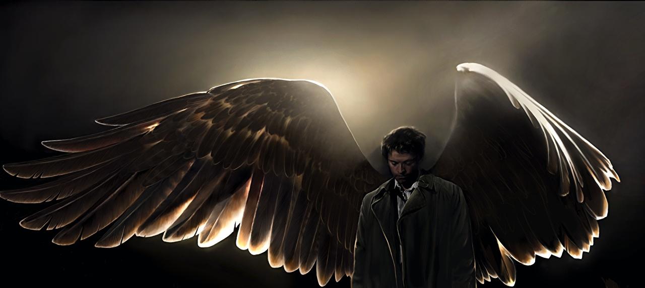 Фотографии Сверхъестественное мужчина Крылья Castiel ангел Фильмы Знаменитости Мужчины кино Ангелы