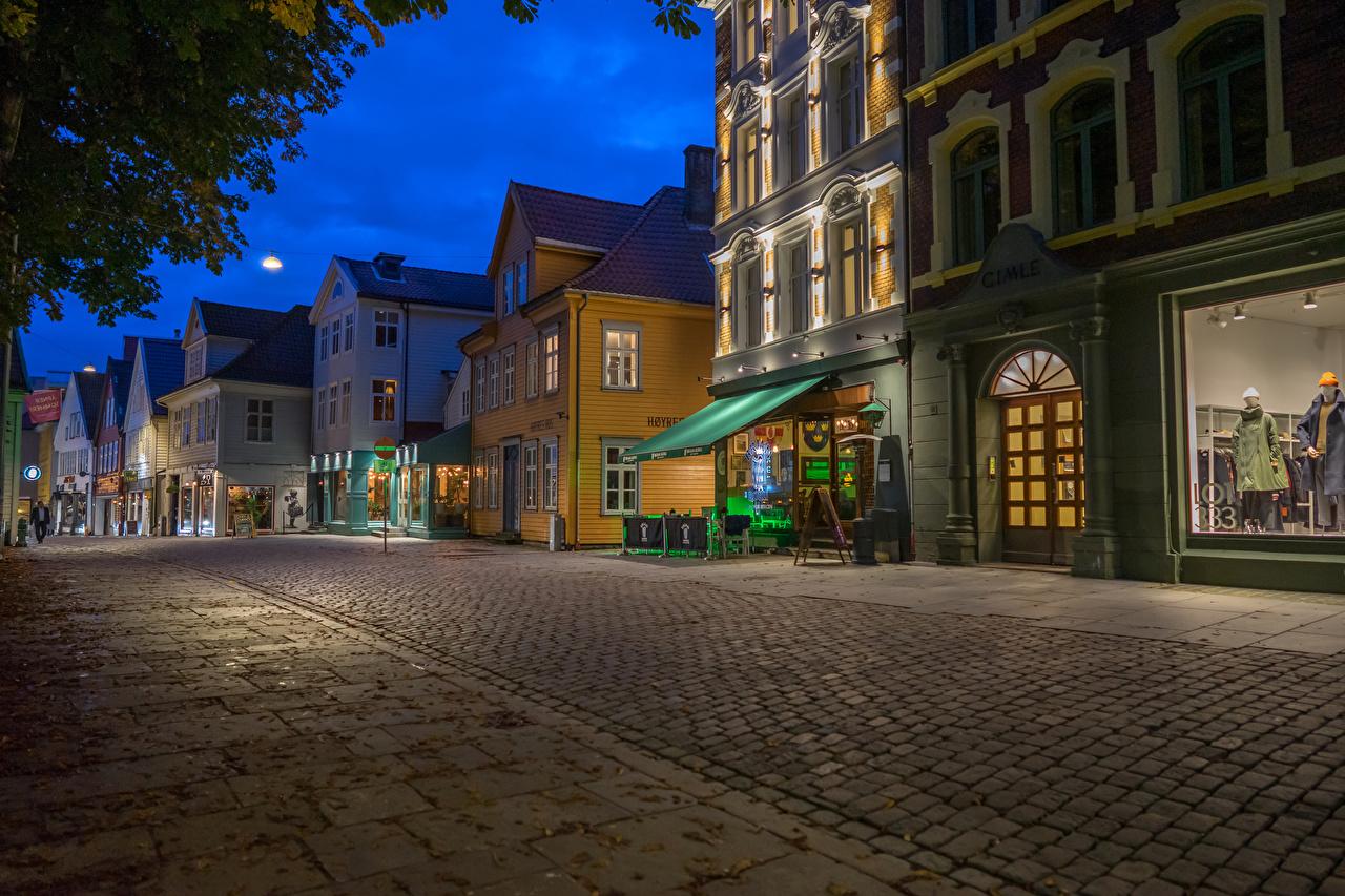 Фото Норвегия Bergen улице Вечер Дома Города улиц Улица город Здания