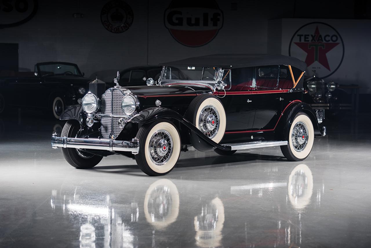 Обои для рабочего стола 1932 Packard Deluxe Eight Phaeton Черный старинные Металлик Автомобили Ретро черных черные черная винтаж авто машина машины автомобиль