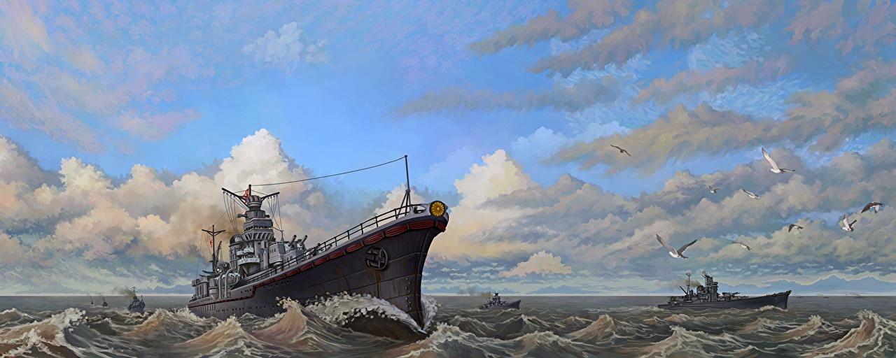 Фотографии Vice Admiral Sentaro Omori's Task Force Небо Волны Корабли Облака Рисованные военные корабль облако облачно Армия