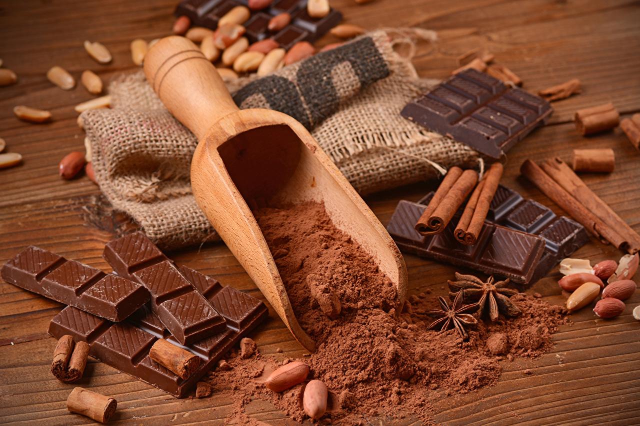 Фото Шоколад Какао порошок Корица Пища Орехи сладкая еда Еда Продукты питания Сладости