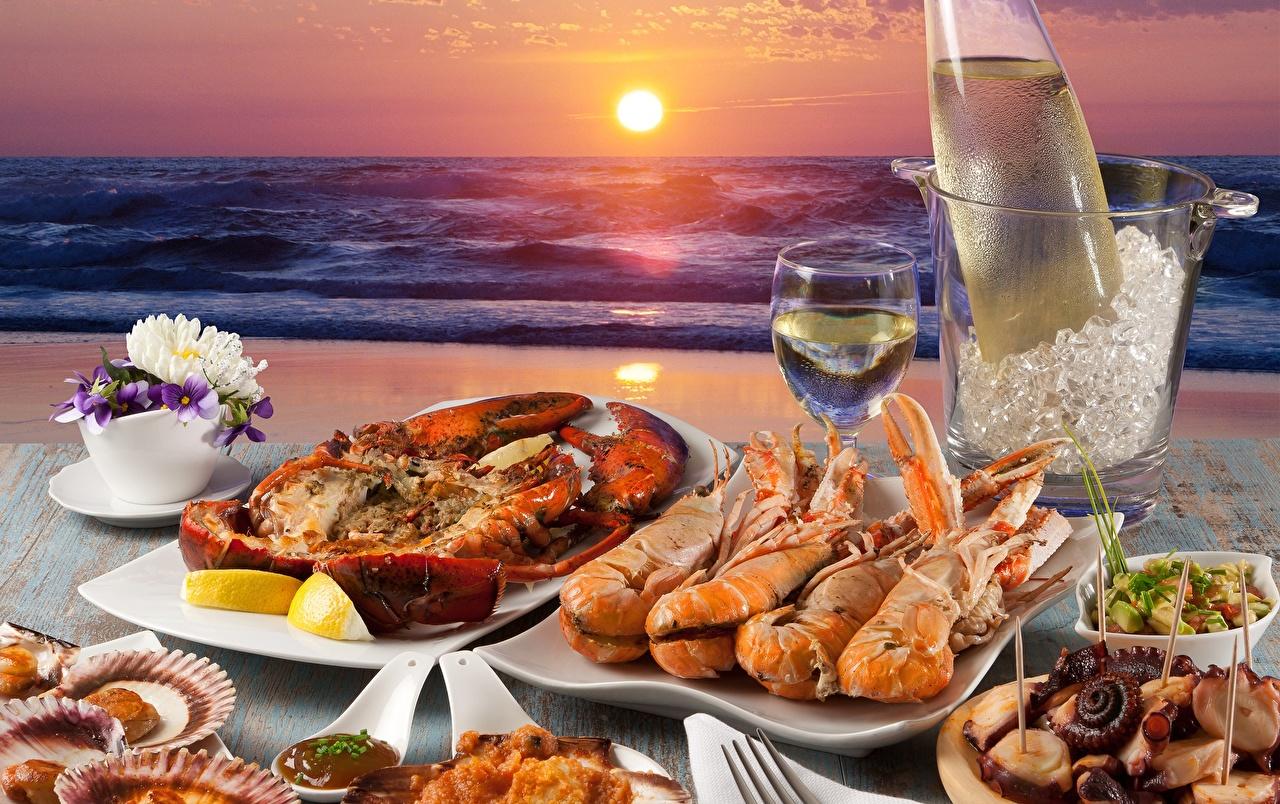 Фото Море Омары Солнце Креветки Рассветы и закаты Пища Морепродукты Еда Продукты питания