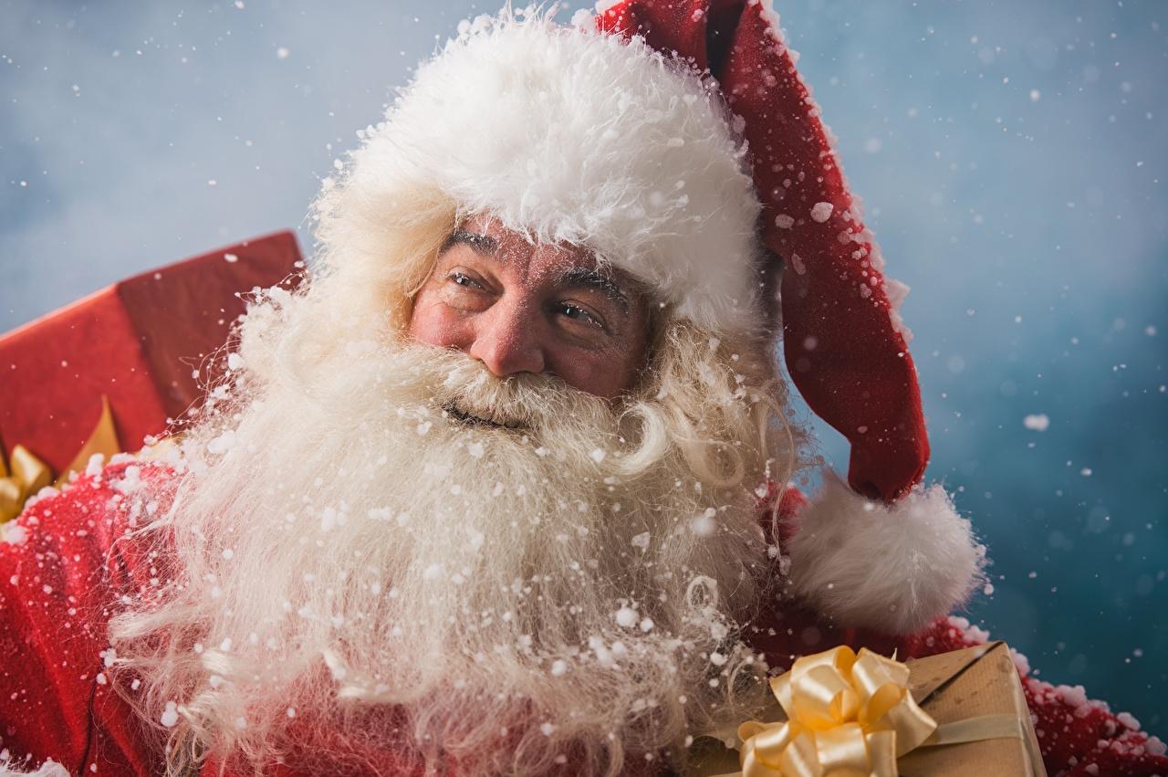 Картинки Рождество Борода Шапки Санта-Клаус Новый год Дед Мороз
