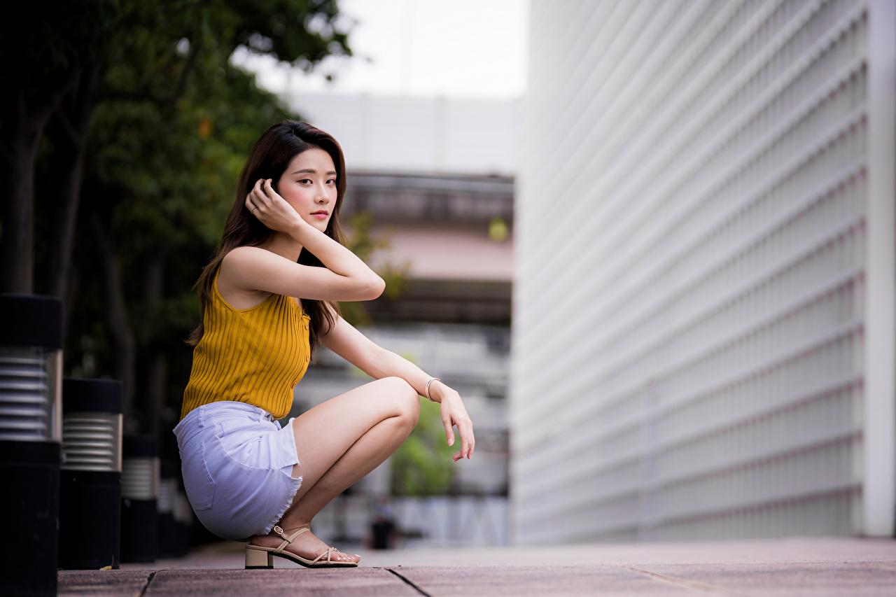 Картинка Размытый фон позирует молодые женщины Азиаты сидящие смотрят боке Поза девушка Девушки молодая женщина азиатки азиатка сидя Сидит Взгляд смотрит